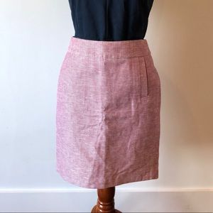 Pink and white pencil skirt